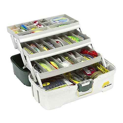 Plano 3-Tray Tackle Box with Dual Top Access, Dark Green Metallic/Off White, Premium Tackle Storage