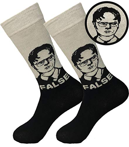 Balanced Co. Dwight Schrute False Dress Socks Rainn Wilson Funny Socks Crazy Socks Casual Cotton Crew Socks (Black/Gray)