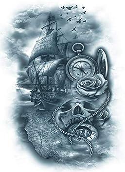 Brújula Reloj de bolsillo Barco Tattoo Arm Tattoo km146: Amazon.es ...