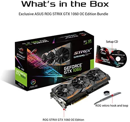 ASUS GeForce GTX 1060 6GB ROG Strix OC Edition VR Ready HDMI 2.0 DP 1.4 Graphic Card (STRIX-GTX1060-O6G-GAMING)