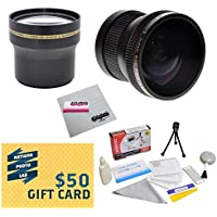 Professional 3.7X Telephoto & 0.20X Fisheye Lens Package For Nikon 1 AW1 J1 J2 V1 V2 S1 J3 - Works with the Nikon 10-30mm / 30-110mm & The 11-27.5mm and 10mm Lenses Includes 3.7X HD Professional Telephoto lens + 0.20X HD Super Wide Angle Panoramic Macro Fisheye Lens + Bonus Deluxe Lens Cleaning Kit + 40.5MM -52MM Adapter Ring + LCD Screen Protectors + Mini Tripod + 47stphoto Microfiber Cloth Photo Print !