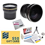 Professional 3.7X Telephoto & 0.20X Fisheye Lens Package For Panasonic Lumix DMC-FZ100 DMC-FZ40 DMC-FZ45 Digital Camera Includes Tube Adapter + Deluxe Lens Cleaning Kit + LCD Screen Protectors + Mini Tripod + 47stphoto Microfiber Cloth Photo Print !