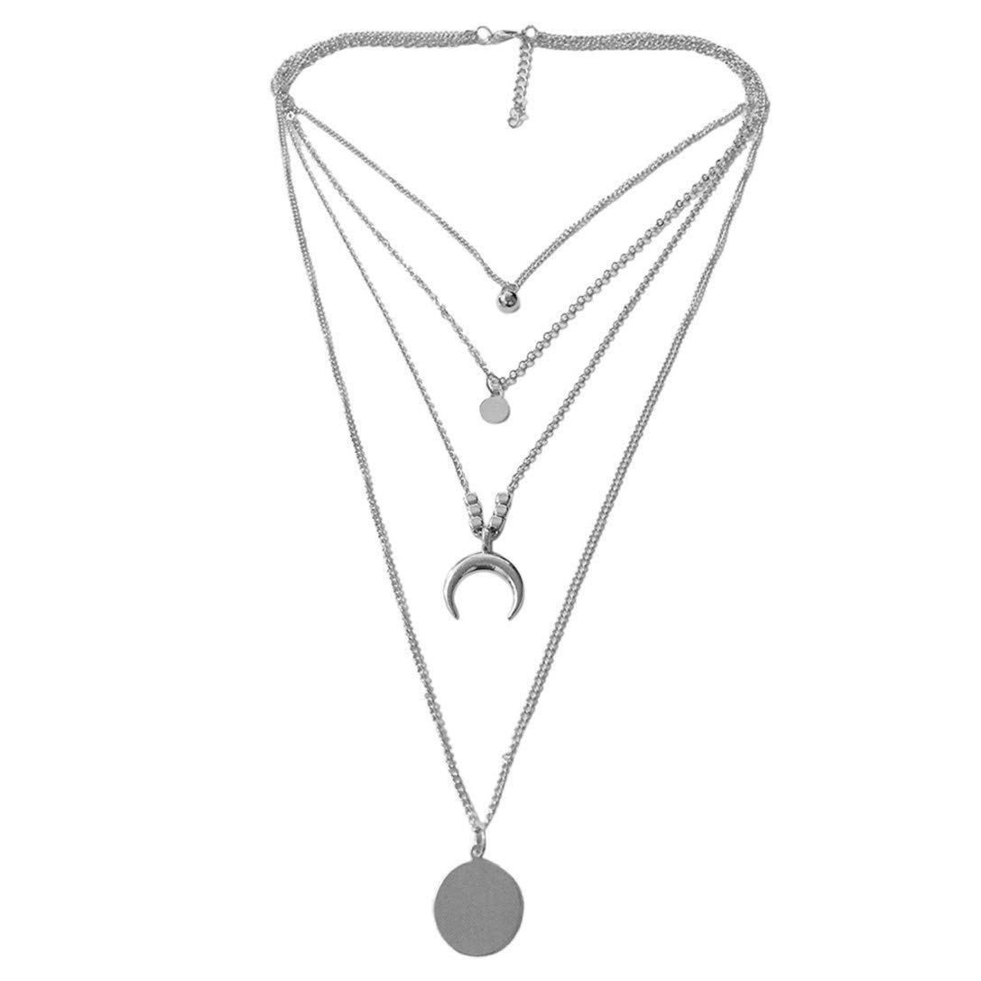 FRCOLT Women Choker Necklace Four Layers Star Tassel Pendant Chain Necklaces Fashion Jewelry (Silver, alloy)