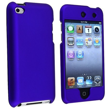 Premium Rubberized Snap-on Hard Crystal Front and Rear Case Cover for Apple iPod Touch 4G, 4th Generation, 4th Gen - Blue compatible with 8GB / 32GB / (Ipod 4th Gen Case Blue)