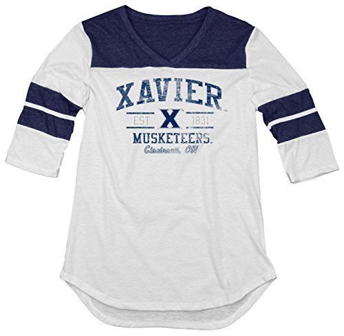 ncaa-xavier-musketeers-womens-tri-blend-3-4-sleeve-tee-navy-small