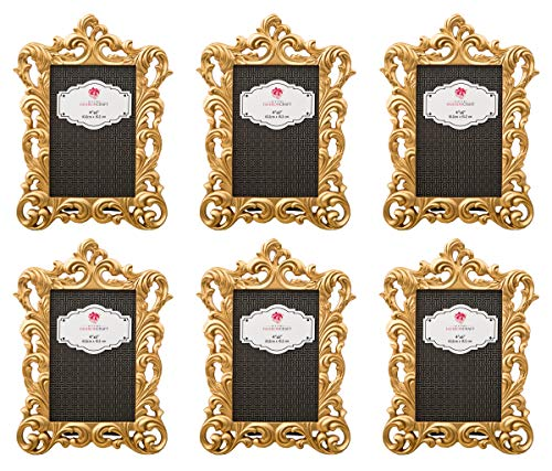 Mozlly Multipack - Fashioncraft Gold Metallic 4 x 6 inch Elegant Vintage Baroque Polyresin Photo Frame Decor Accent (Pack of 6) Decorative Antique Style w/Artistic Lattice Border - Item #S105018_X6