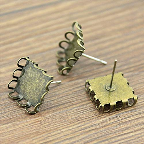 WYSIWYG 60 Pieces Stud Earrings Supplies for Jewelry Findings Components Handmade Earrings Lace Inner Size 12mm Square Cabochon Cameo Settings Tray Bezel Blank