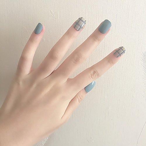 11 Optional Fake Nails 24Pcs/Set Simple Lattice Style Finished False Lady Full Nail Tips Short Size Square Unhas YW23 ()