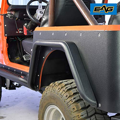 - EAG Body Armor Tube Fenders w/ 3 inch Flares Black Textured Fit for 76-86 Jeep Wrangler CJ7