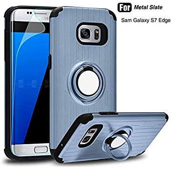 Phone Case Compatible Galaxy S7 Edge,Atump 360 Degree Rotating Ring Holder Kickstand Case Cases with Built-in Screen Protector Cover Compatible Samsung Galaxy S7 Edge Metal State