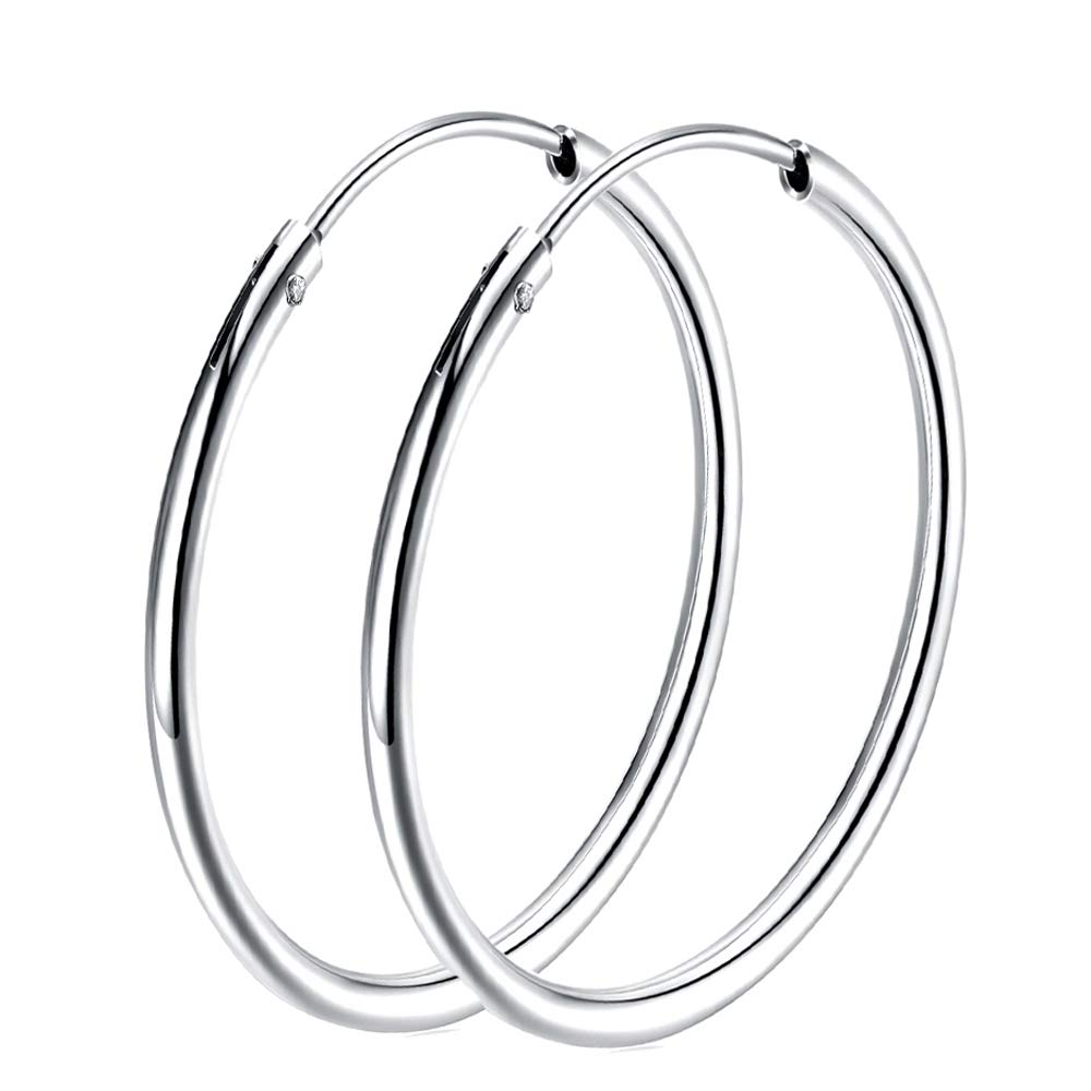 Sterling Silver hoop earrings For Women Girls, Polished Round Endless Fine Circle Hoops earrings gift, 50mm