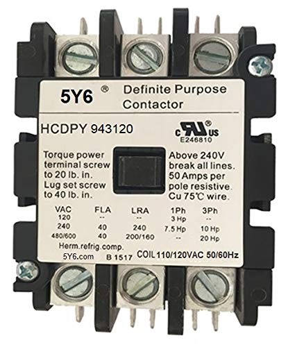 50 Amp Definite Purpose Contactor 3 Pole, 120VAC Coil 40A, 50A, Lighting, Heating, Refrigeration