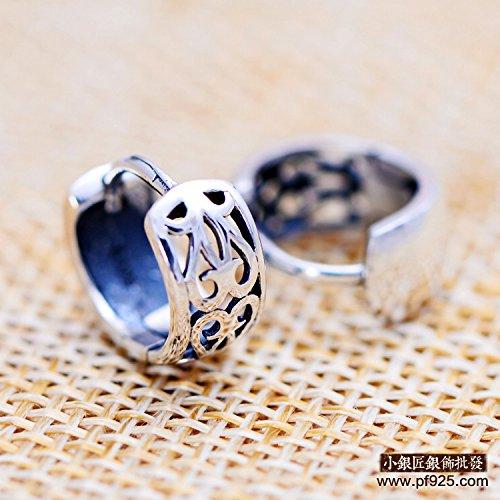 usongs S925 small silversmith sterling silver jewelry retro pattern Thai silver earring studs Pierced earrings Ms Factory Outlet