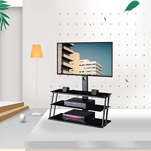 Mooseng Black Multi-Function Angle and Height Adjustable Table Top Stand TV Entertainment Center Three Layers of Glass Shelf for Multiple Media Devices,Weight Capacity 110 Lbs, 32-65
