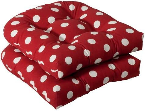 Pack of 2 Outdoor Patio Wicker Chair Seat Cushions – Red and White Polka Dot