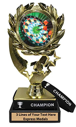 Express Medals Darts Trophy with Removable Wearable Champion Wrist Band Marble Base and Personalized Engraved Plate