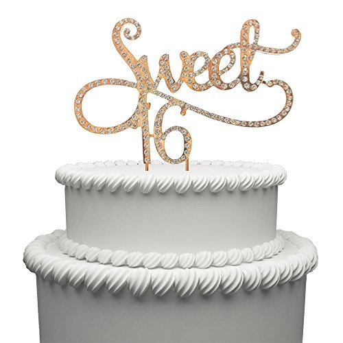Hatcher lee Sweet 16 Cake Topper for 16 Years Birthday Or 16TH Wedding Anniversary Gold Crystal Rhinestone Party Decoration -
