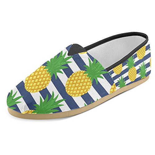 Interestprint Femmes Mocassins Classique Casual Toile Glisser Sur La Mode Chaussures Sneakers Appartements Ananas Fruits Multi 24