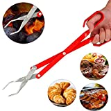 LinaLife 16.5 inch Length Aluminum Scissor Tongs Grill Tongs for Camping, BBQ Tongs, Long Reach Lightweight Sturdy Barbecue Tongs Durable Never Rust use for charcoal meat steak oven bread