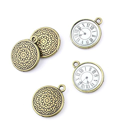 (20 pieces Anti-Brass Fashion Jewelry Making Charms 2479 Pocket Watch Clock Wholesale Supplies Pendant Craft DIY Vintage Alloys Necklace Bulk Supply Findings Loose)