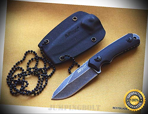(MTECH USA NECK SHARP KNIFE SHARP KNIFE WITH KYDEX SHEATH - 4.75 INCH OVERALL G10 HANDLE - Premium Quality Hunting Very Sharp EMT EDC)