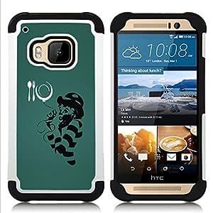 BullDog Case - FOR/HTC ONE M9 / - / Funny MC Illustration /- H??brido Heavy Duty caja del tel??fono protector din??mico - silicona suave