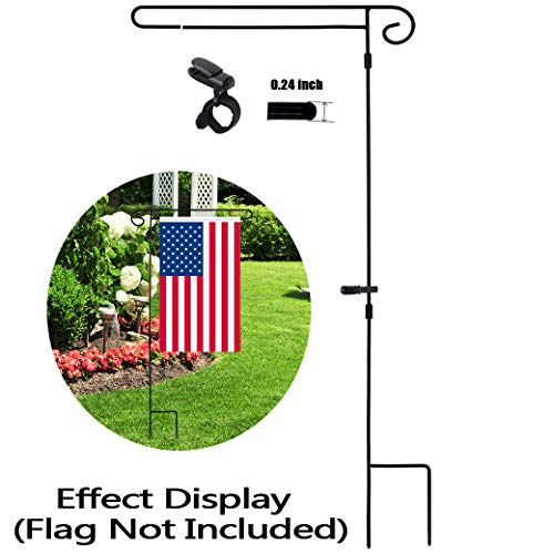 HOOSUN Garden Flag Stand Holder Easy to Install Strong and Sturdy Wrought Iron Pole 36