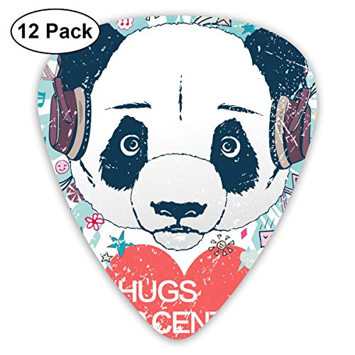 (JsMuryobao Guitar Picks Custom Cool Unique Design for Electric Acoustic Bass Ukulele Panda Lover Valentine's Day Hugs 10 Cents)