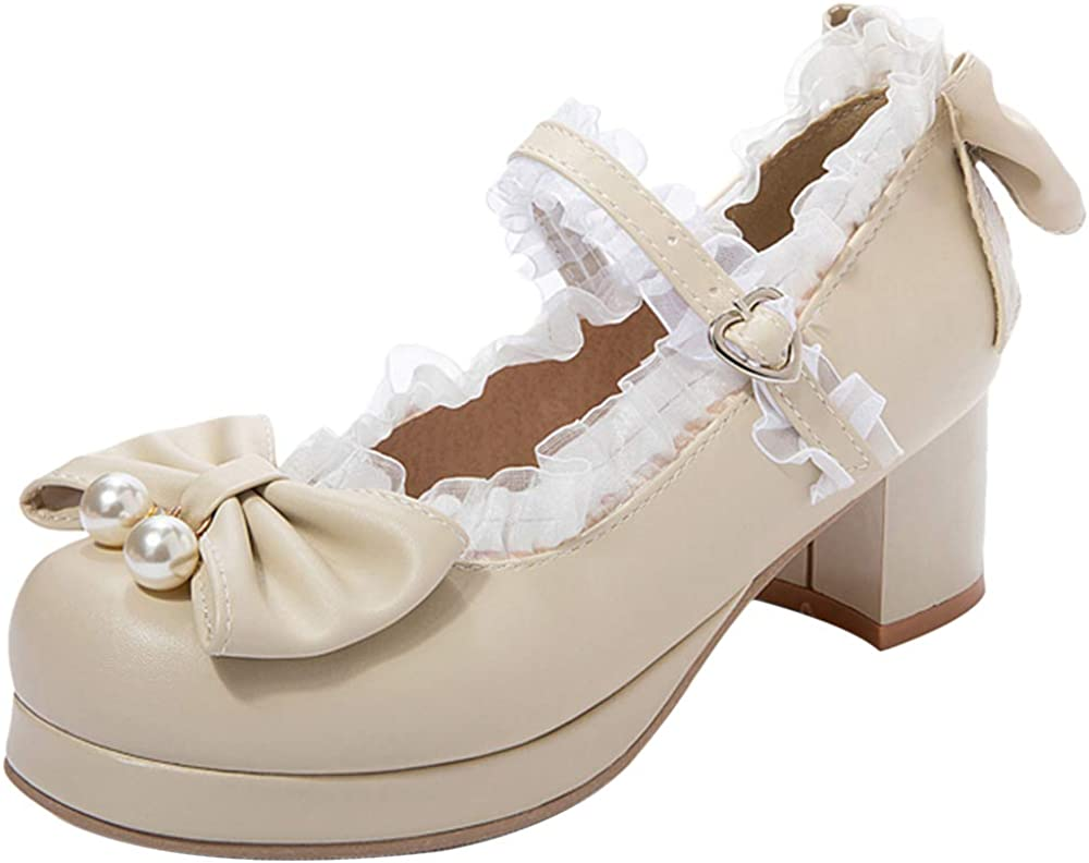 Nonbrand BIGABIGA Women Sweet Bow Shoes Mary Jane with Lace Mid Block Heels Round Toe