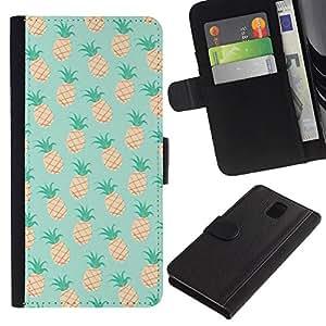 A-type (Pineapple Mint 420 Weed Cannabis) Colorida Impresión Funda Cuero Monedero Caja Bolsa Cubierta Caja Piel Card Slots Para Samsung Galaxy Note 3 III