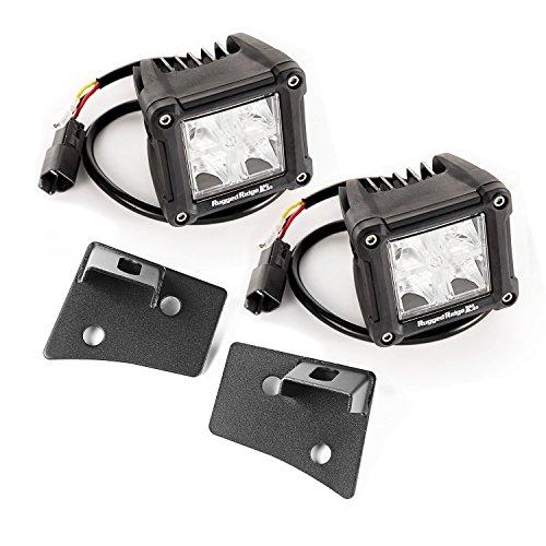 Rugged Ridge 11027.20 Windshield Bracket LED Kit Textured Dual Cube 07-up Jeep Wrangler JK