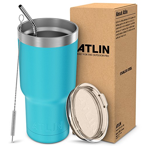 Atlin Tumbler [30 oz. Double Wall Stainless Steel Vacuum Insulation] Travel Mug [Crystal Clear Lid] Water Coffee Cup [Straw Included] (Turquoise) For Home,Office,School, Ice Drink, Hot Beverage