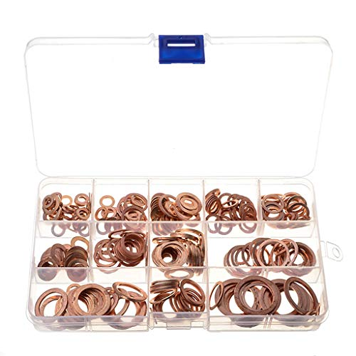 Mayunn 280 Pcs Copper Gasket Assembly Gasket Box - Screws Connection Elements Tight Flat Plate Seal - Good Electrical Conductivity and Thermal Conductivity, Quakeproof