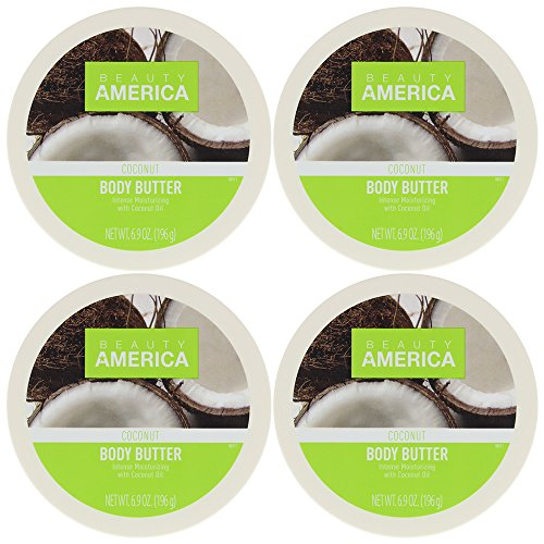 Beauty America Intense Moisturizing Body Butter With Coconut Oil, 4 pack ()