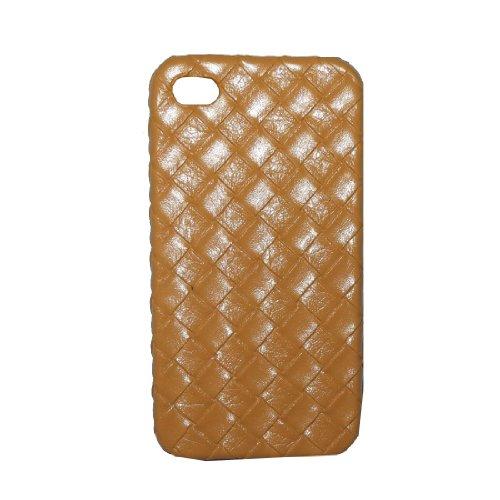 iPhone 4 / Cas 4S: Style de Weave Conception peau Hard Cover Protector Case pour Apple iPhone 4 / 4S - brun