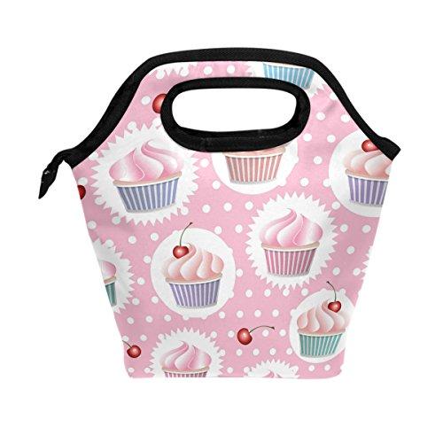(WOZO Colorful Cupcake Polka Dot Insulated Lunch Bag Tote Bag Cooler Lunchbox Handbag for Outdoors School Girl Boy)