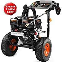 TACKLIFE GSW01A Gas Pressure Washer 3300PSI at 2.6GPM 6.5 Peak HP, 5 Nozzles, Easy Move, Multiple Accessories, 360 ° Easy to Remove Dirt with Power Engine DHV212, for Vehicle, Garden, Yard, Ground