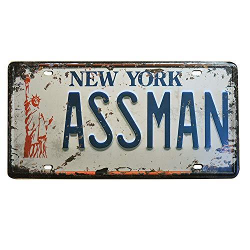 (Embossed Vintage Prop Number Tag, Assman, Vanity License Plate, Seinfeld | Cosmo Kramer, 6x12)