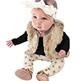 Sisit Newborn Infant Gold Stamping Heart Pants Headband Tops 3PC Outfits Clothes Sets For 0-24M Baby (70, Black)