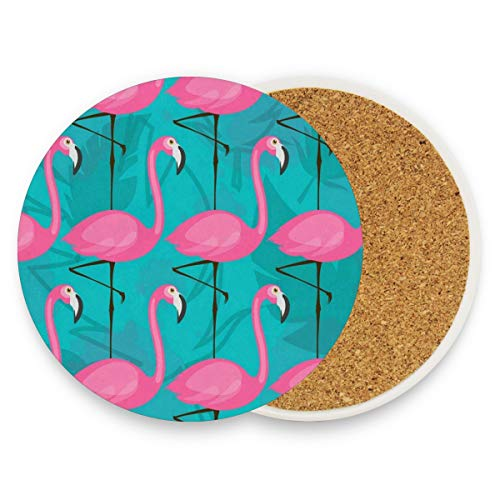 (Pink Flamingos Coasters, Protection For Granite, Glass, Soapstone, Sandstone, Marble, Stone Table - Perfect Drink Coasters,Round Cup Mat Pad For Home, Kitchen Or Bar 1)