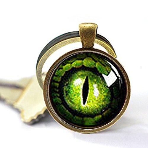 Green Dragon Eye Keychain,Antique Brass Keychain,Dragon Eye Keychain,Unique Key Ring Customized Gift,Everyday Gift Key Chain