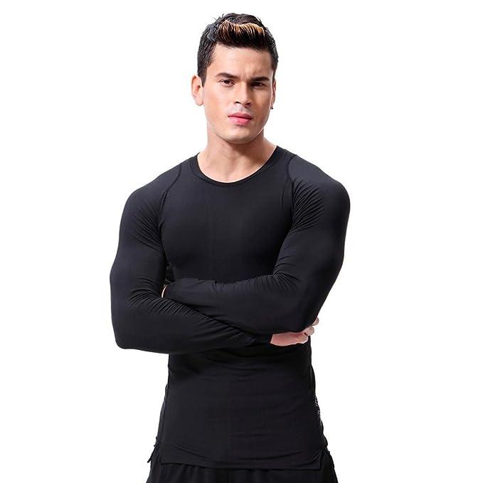 Resplend Camiseta de Fitness para Hombre con Mangas largas Rashguard Bodybuilding Skin Camiseta de Secado Total