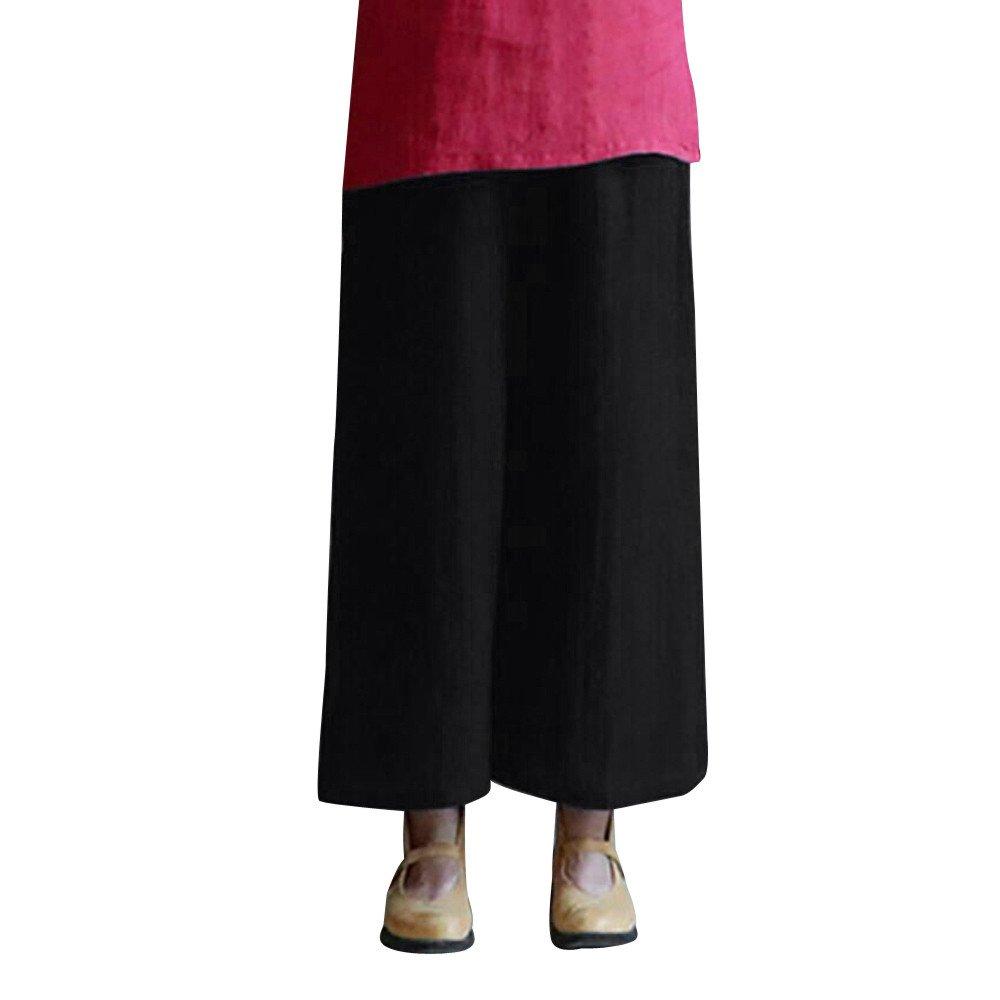 6f3900ebd2 Top1: Clearance Sale! Women Pants,Farjing Women Summer Elastic Waist Plain Harem  Pants Wide Leg Baggy Trouser Linen Pants