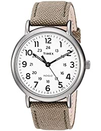 Men's TWF3C8440 Weekender 40 Olive/Titanium Two-Piece Leather/Fabric Strap Watch
