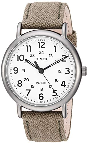 Weekender Olive - Timex Men's TWF3C8440 Weekender 40 Olive/Titanium Two-Piece Leather/Fabric Strap Watch