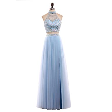 HONGFUYU 2018 2 Pieces Prom Dresses High Neck Sleeveless A Line Floor Length Beading Tulle Party