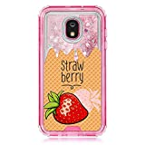 TurtleArmor | Compatible for Samsung Galaxy J3 (2018) Case | J337 | Pink Fitted Dual Layer TPU Bumper Case with Flowing Liquid Waterfall Quicksand Glitter Sparkle Bling Hearts - Strawberry Ice Cream