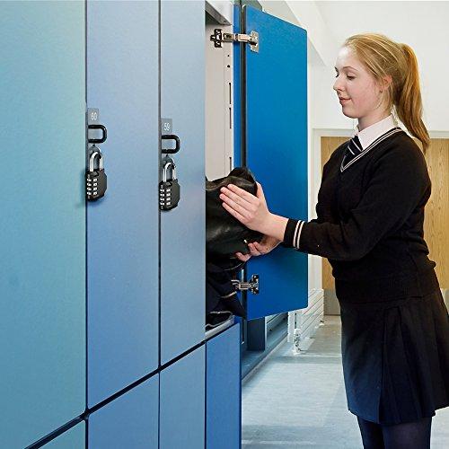 Puroma 2 Pack Combination Lock 4 Digit Padlock for School Gym Locker, Sports Locker, Fence, Toolbox, Case, Hasp Storage (Black)