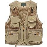 Zhusheng Men's Mesh 15 Pockets Photography Fishing Hunting Outdoor Quick Dry Vest Breathable Waistcoat Jackets (XX-Large, Style 02 Khaki)
