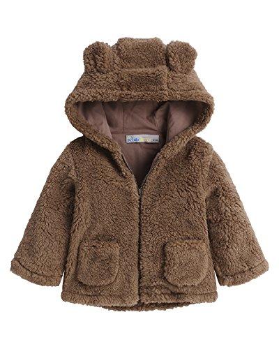 Kidsform Baby Girls Boys Fleece Hoodie Jacket Coat Cloak Winter Warm Outwear Cardigan With Ears Brown - Sweatshirt Winter Fleece